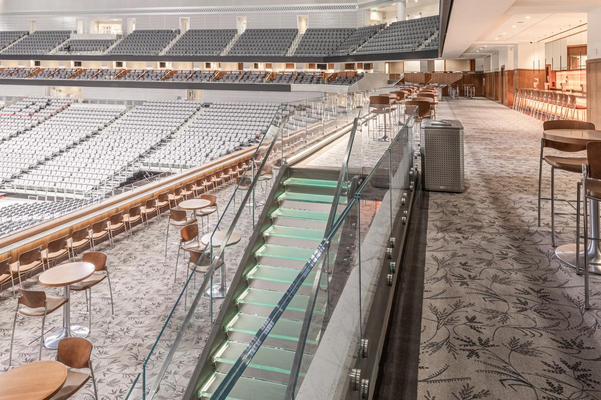 To accommodate the variety of different events effectively, a variable rise seating system is employed / Dickies Arena