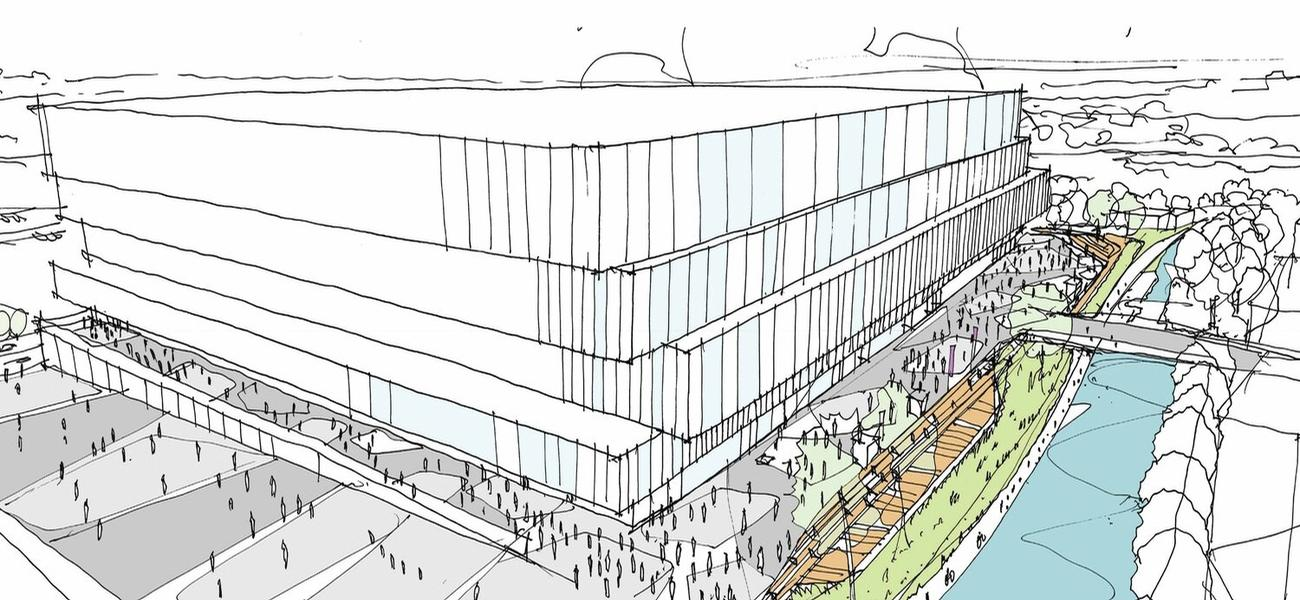 Oak View Group released a 'very early stage indicative sketch' of what a new arena could look like / Oak View Group