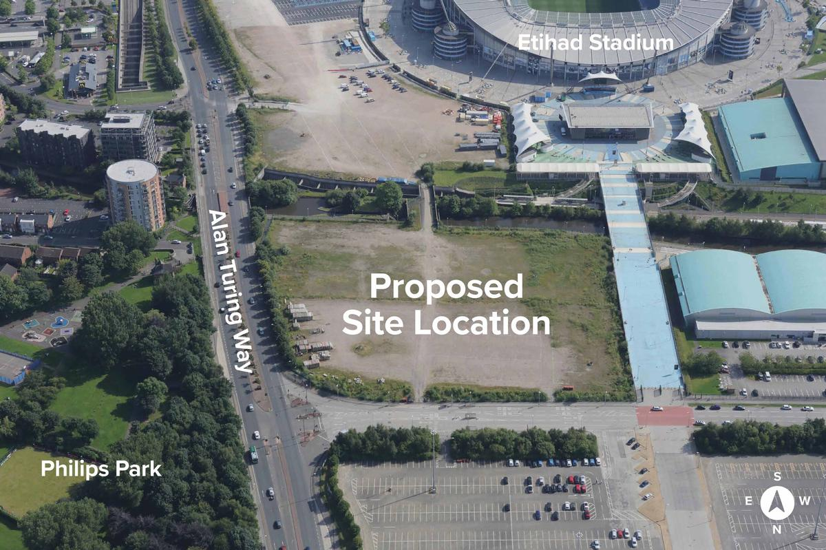 The proposed location for the new arena is close to the Etihad Stadium within the larger sports campus / Oak View Group