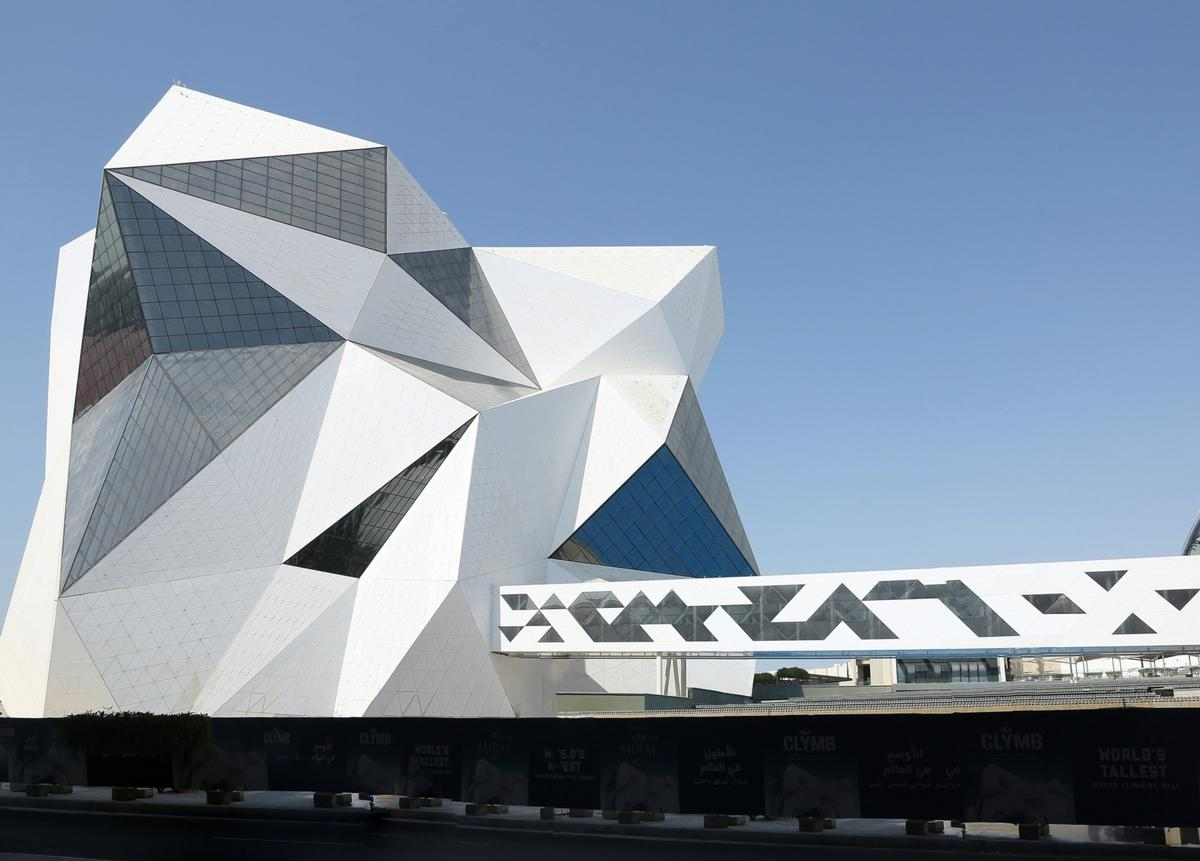 The structure of the Clymb building is inspired by UAE's rugged landscape
