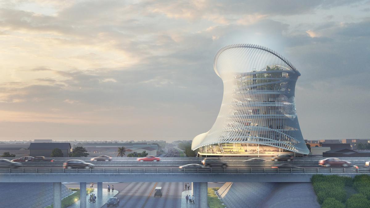 The vertically curved, circular museum has a semi-transparent façade / Coldefy & Associés with RDAI_onePULSE Foundation