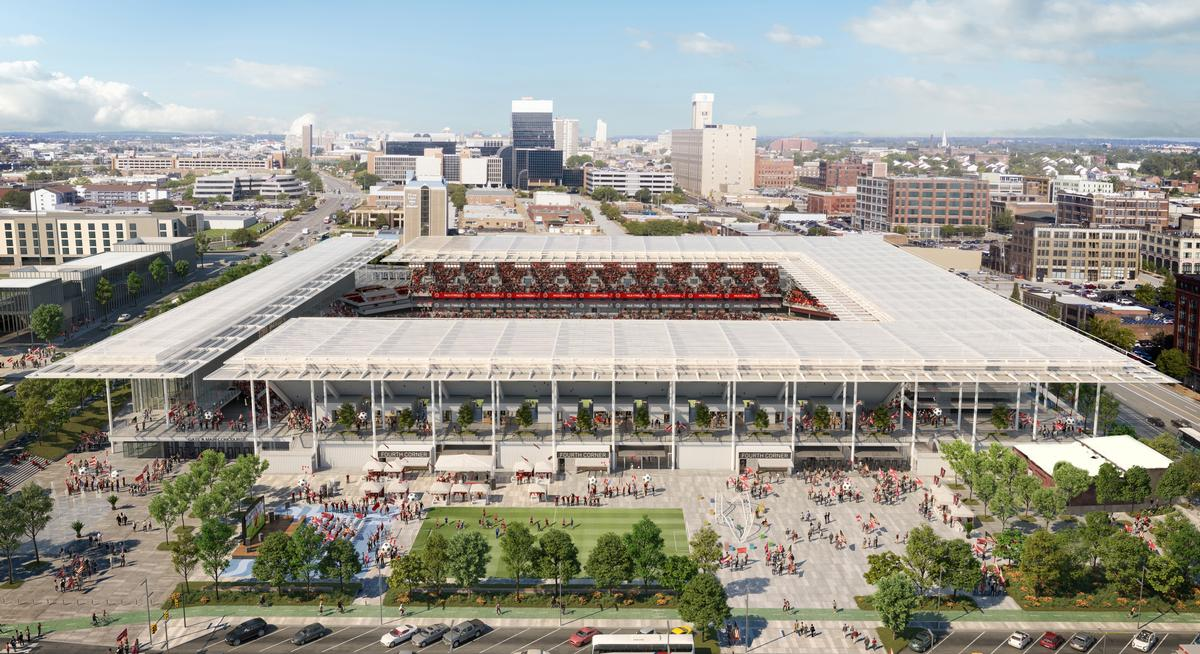 A plaza outside the stadium will have retail offerings and restaurants / HOK