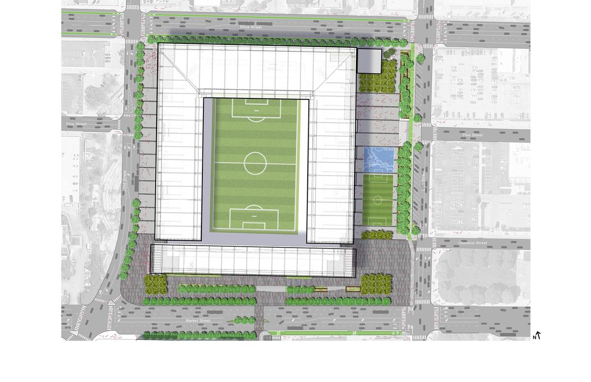 The stadium has an initial pl;anned capacity of 22,500 / HOK