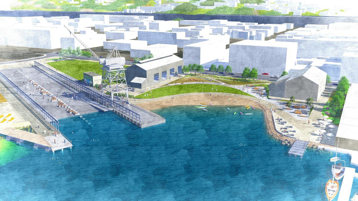 The park will incorporate elements of the site's former life as a port, including its cranes and slipway / Port of San Francisco