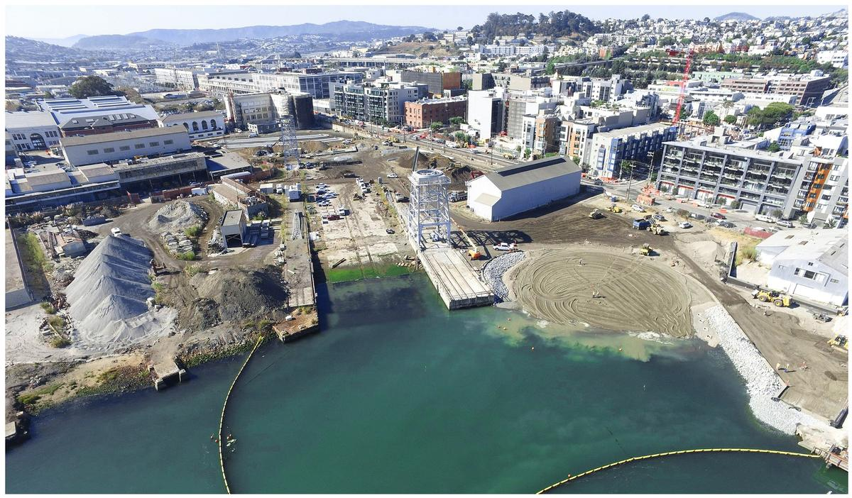 To create the beach, the concrete dockside had to be removed and the land treated for contamination / Port of San Francisco