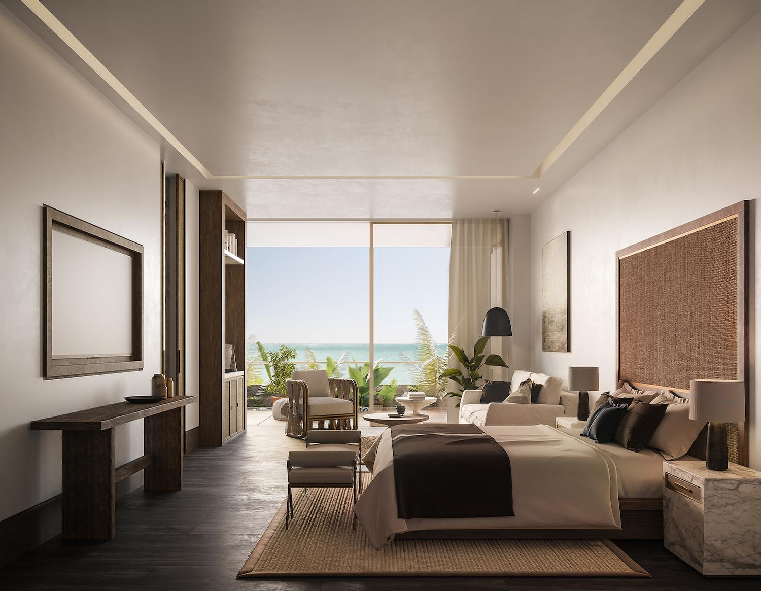Mexican ceramics, marble, wicker and locally sourced fabrics will bring together the interiors, which are designed to create a calm and relaxed environment for guests