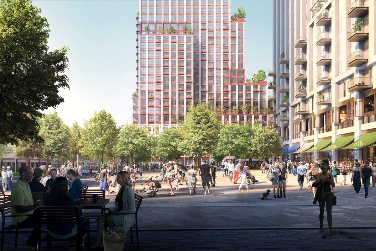 There will be open public spaces for people to sit and gather / Allies and Morrison