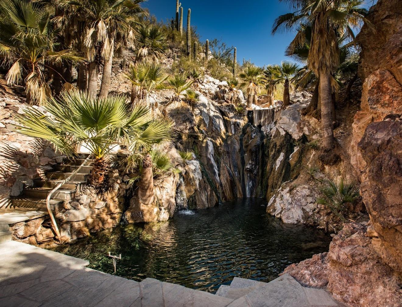 At the epicentre of the 210-acre property are the thermal hot springs, which emit from the earth at 120 degrees Fahrenheit / Castle Hot Springs