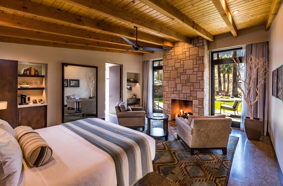 Accommodations have been built with the intention for guests to immerse themselves with the environment, including the Spring Bungalows, which feature private fireplaces as well as outdoor tubs that source mineral water from the springs / Castle Hot Springs