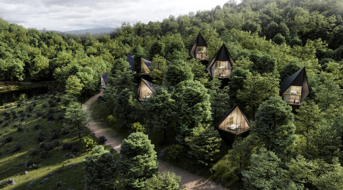 The units will be embedded into a hillside of fir and larch trees / Peter Pichler Architecture