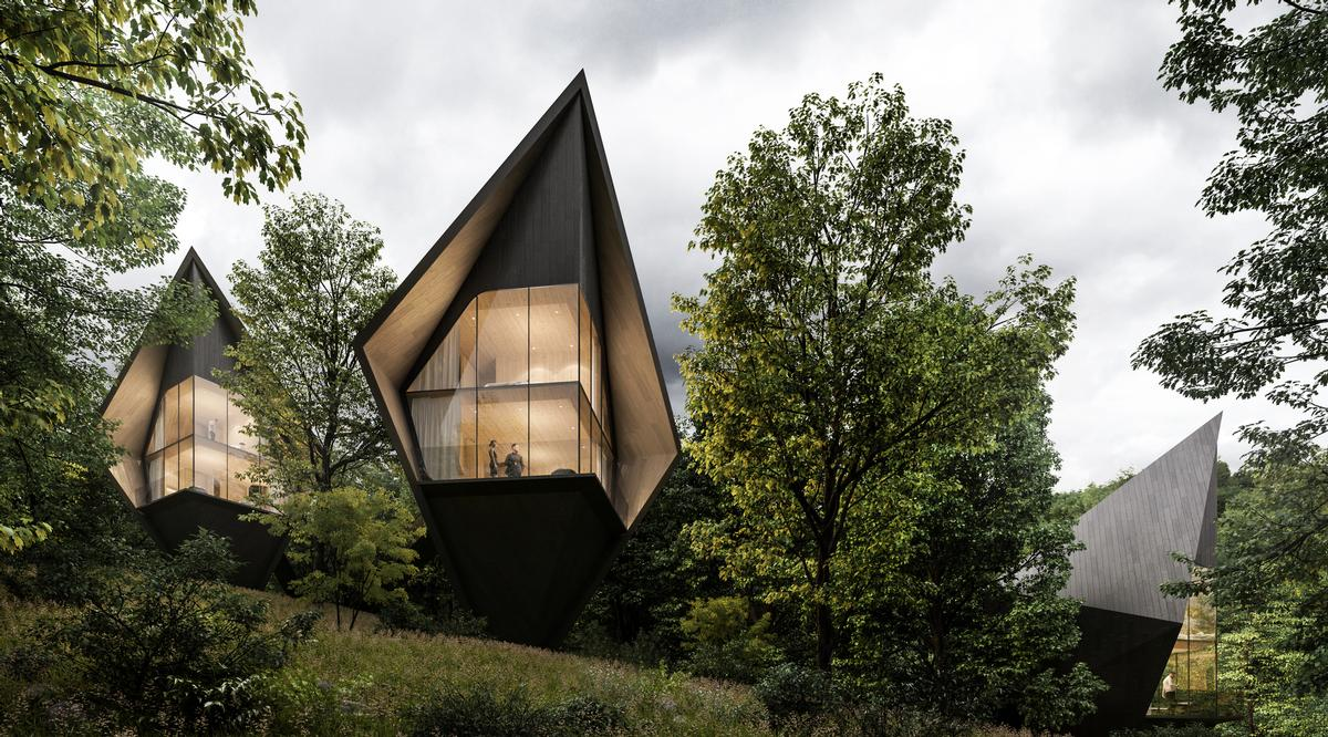 The sharp, steep roofs of the treehouses are inspired by the surrounding fir and larch trees / Peter Pichler Architecture