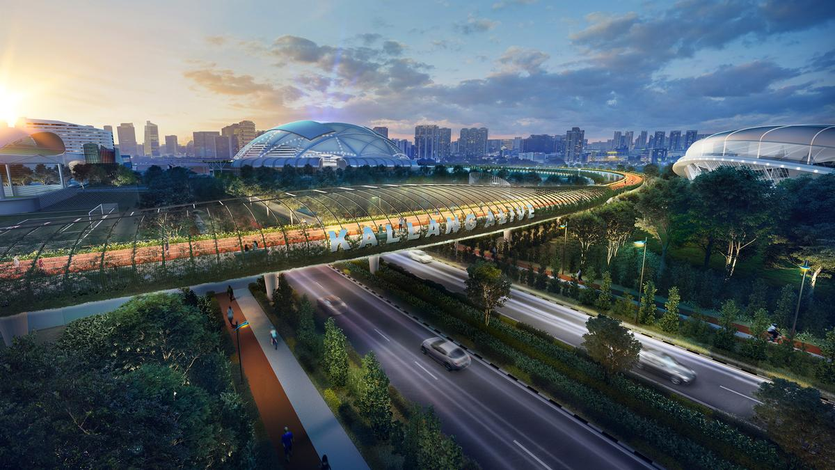 The masterplan covers an area of 89ha (220ac) around the site of the existing Singapore Sports Hub / Pomeroy Studio