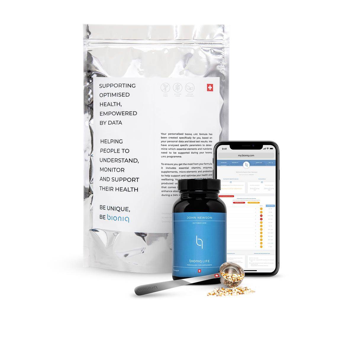 Bioniq uses in-depth blood, microbiome and genetic tests to track health and produce tailor-made supplements.