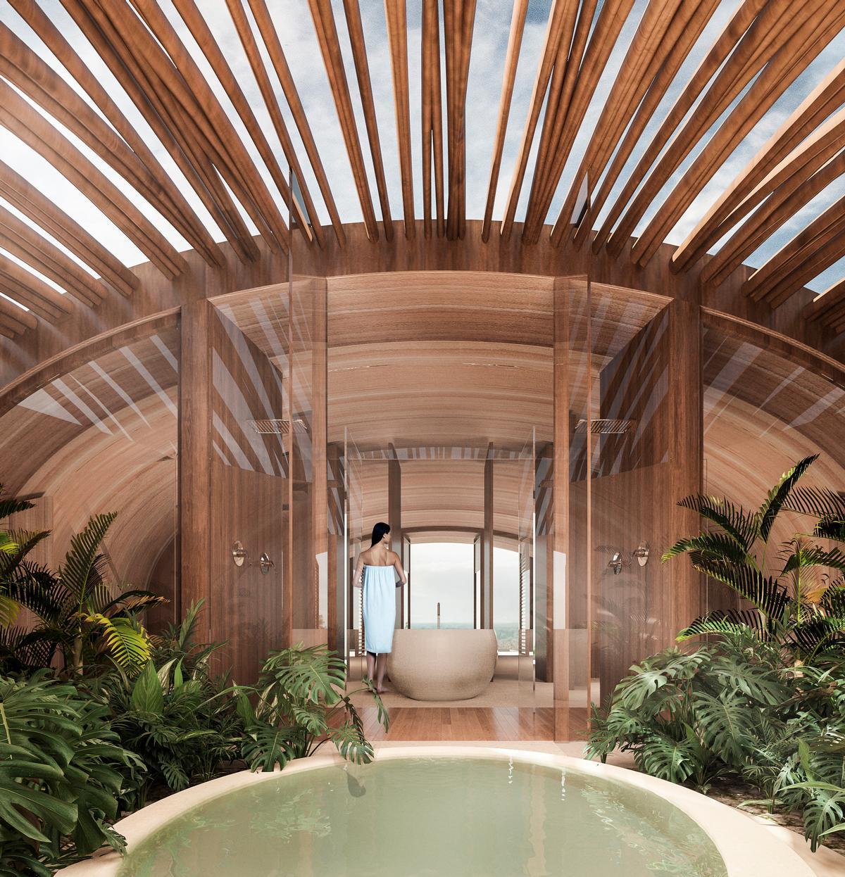 Each room has a terrace, a pool and a garden at the rear / Sordo Madaleno Arquitectos