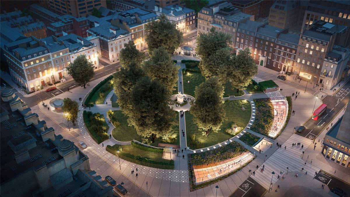 A pedestrian-first green lung will double the current amount of public space and feature new planting, water features and drinking fountains / Reef Group