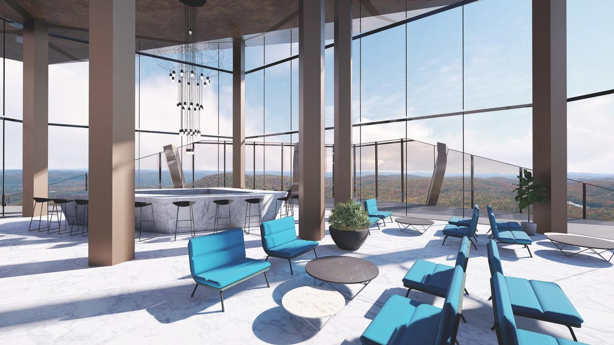 A sky bar on the 37th floor offers panoramic views / MU Architecture