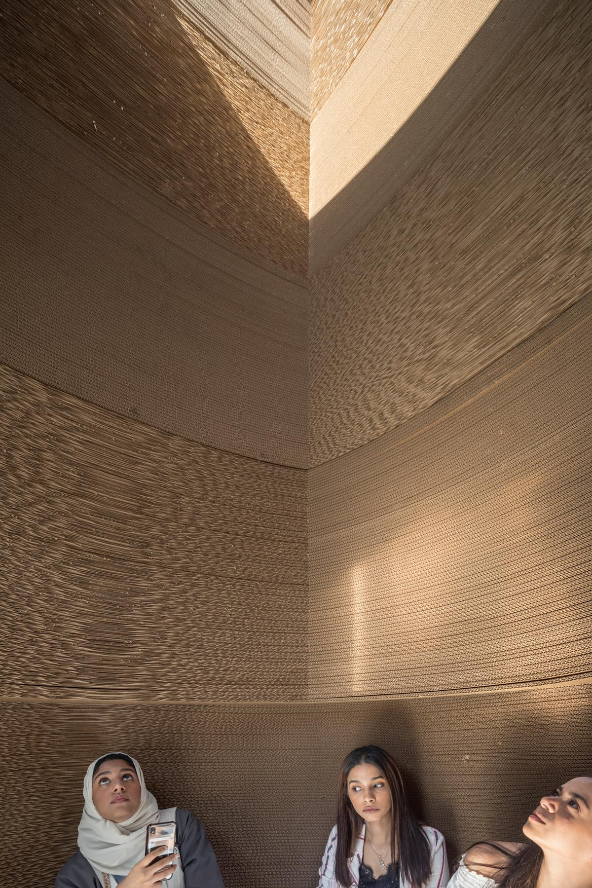 The circular interior becomes square as the tower rises