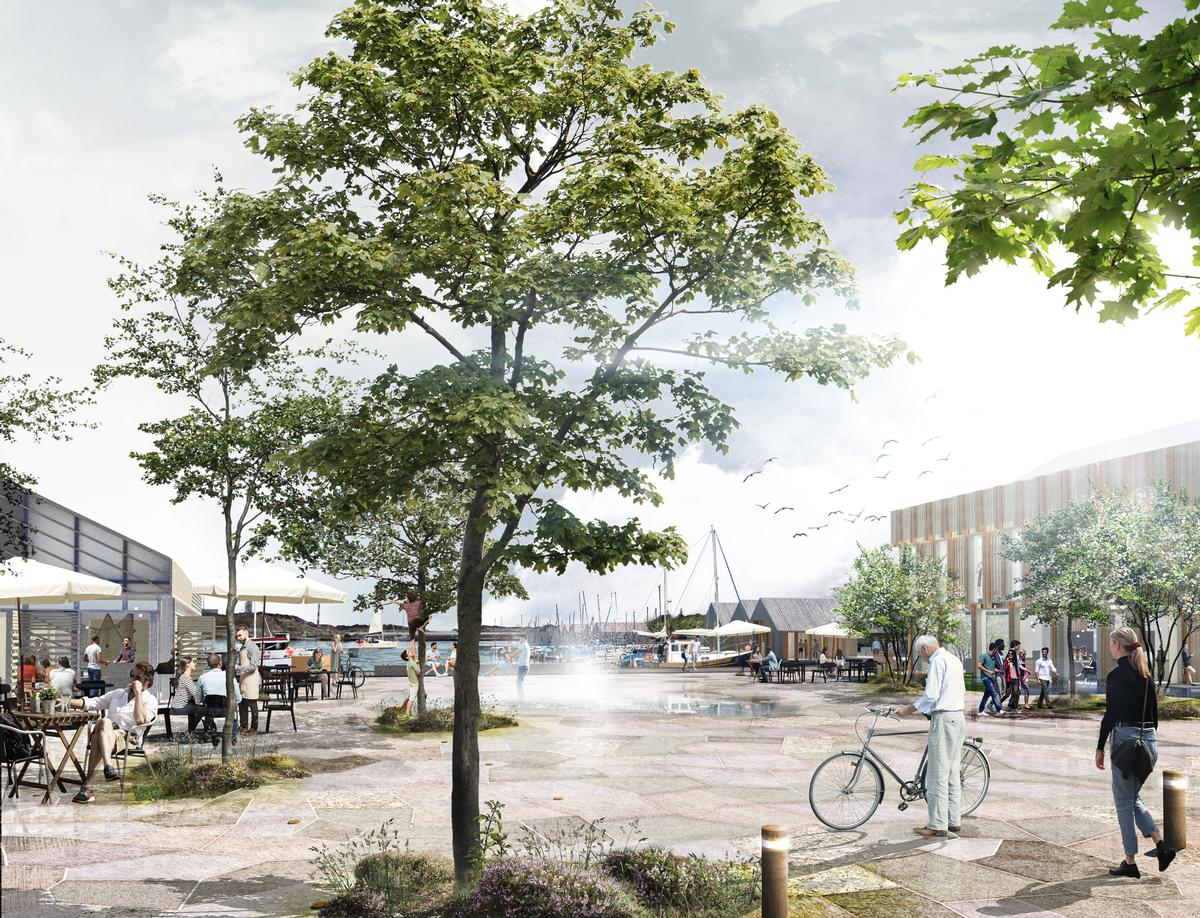 The design will provide a new public space and reestablish the town's maritime heritage / BOGL