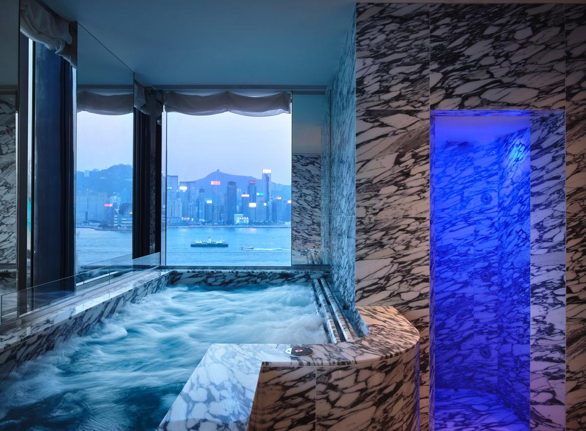 The 3,716sq m space spans two floors and includes private harbour-view marble hydrotherapy pools, steam experiences, sauna, an ice blast misting shower and laconium.