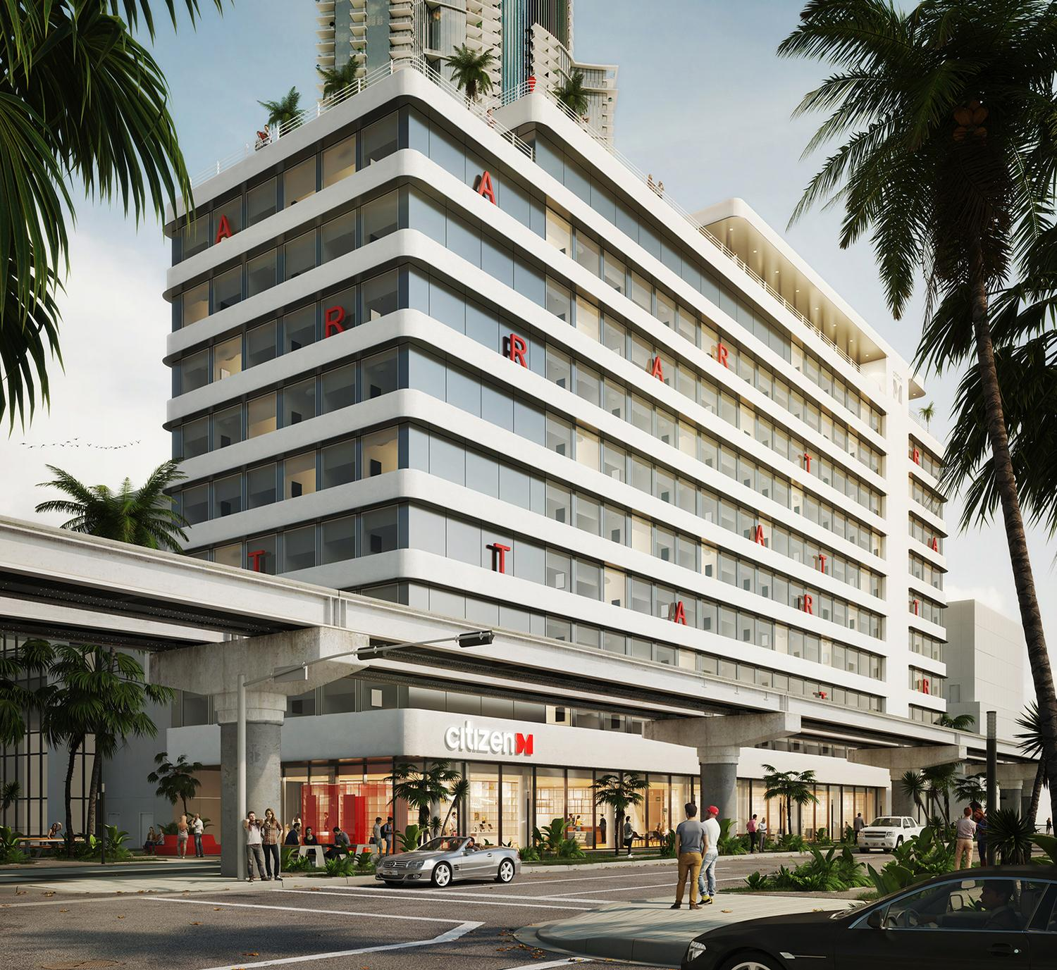 The 128,000sq ft (11,900sq m), 12-storey hotel will accommodate 351 guestrooms / CitizenM
