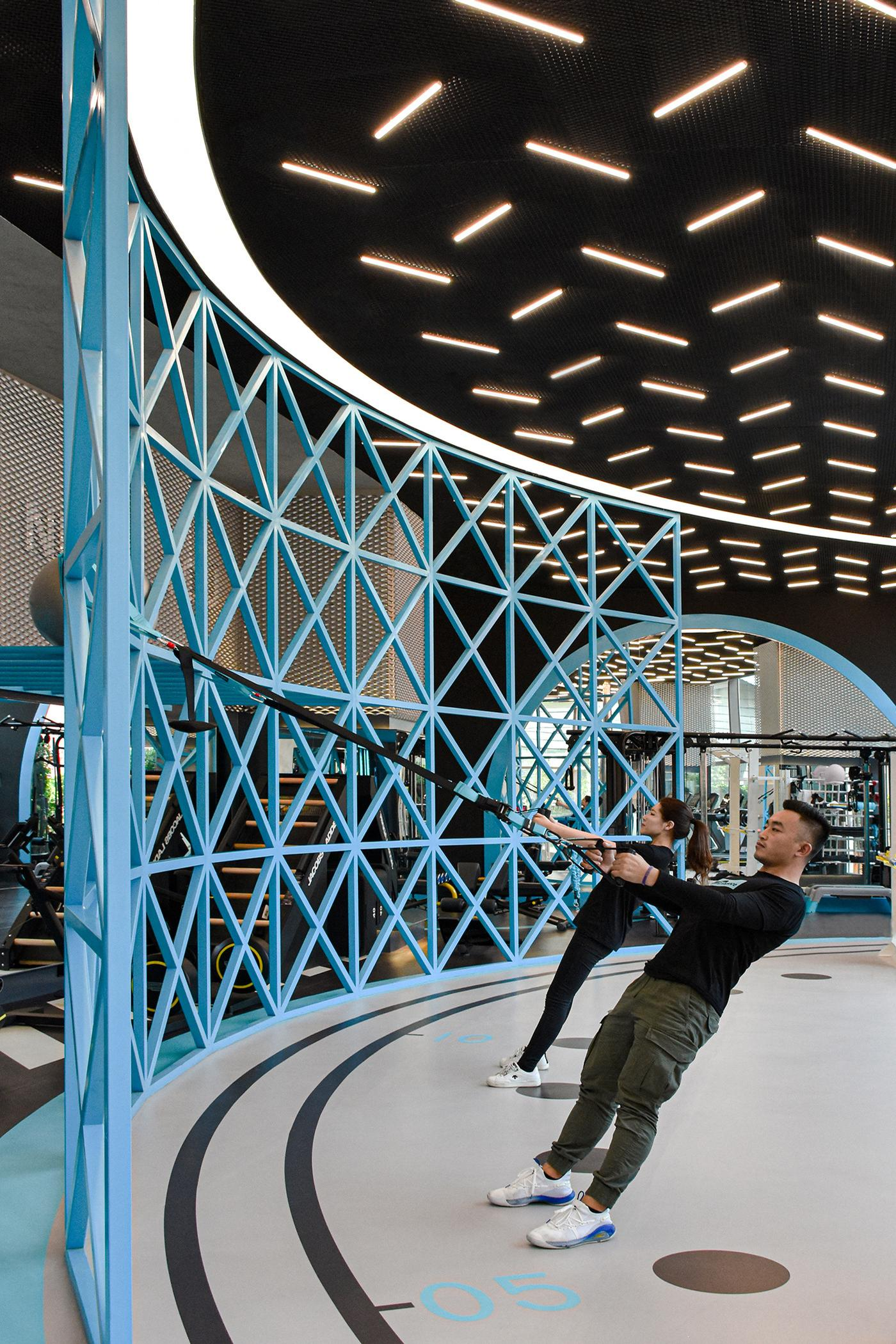 Ropes for resistance and other equipment can be attached to a curved architectural lattice structure