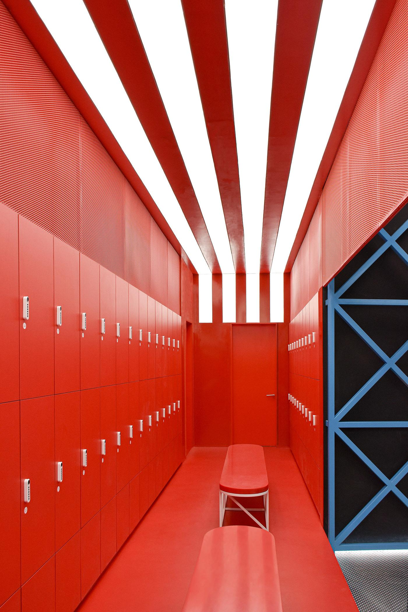 Strip lights provide contrast in the locker room