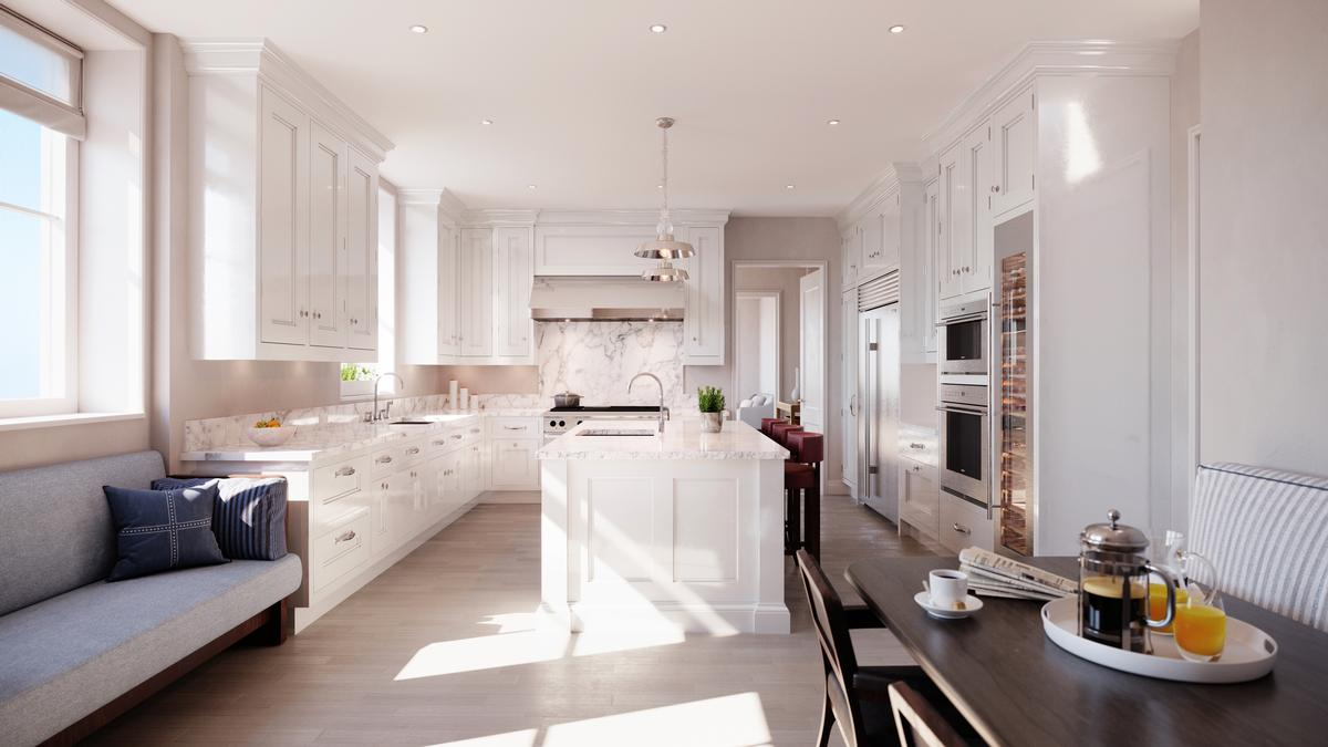 A typical kitchen at Beckford House & Tower / Noe & Associates / The Boundary