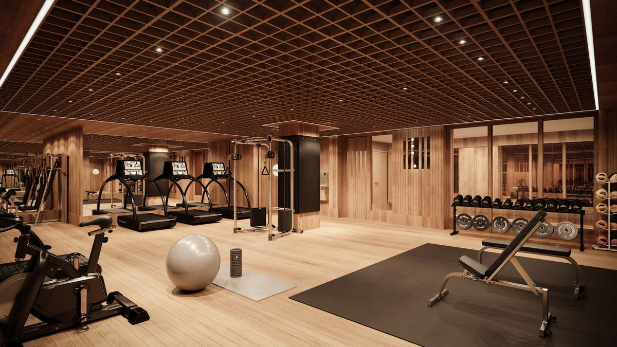 The fitness centre in the House is replete in wooden floors and walls / Noe & Associates / The Boundary