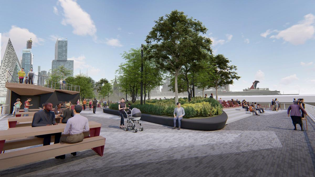 There will be seating areas throughout the pier / !melk / Hudson River Park Trust