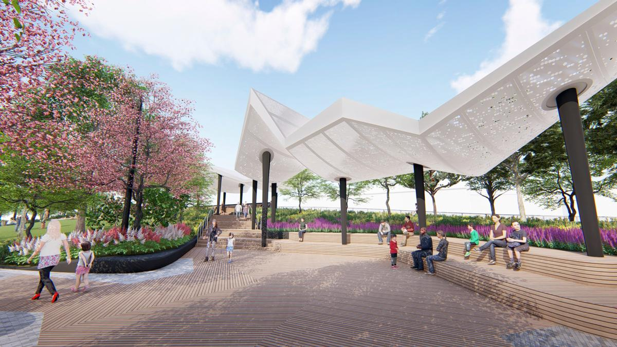 Canopy structures to provide shade / !melk / Hudson River Park Trust