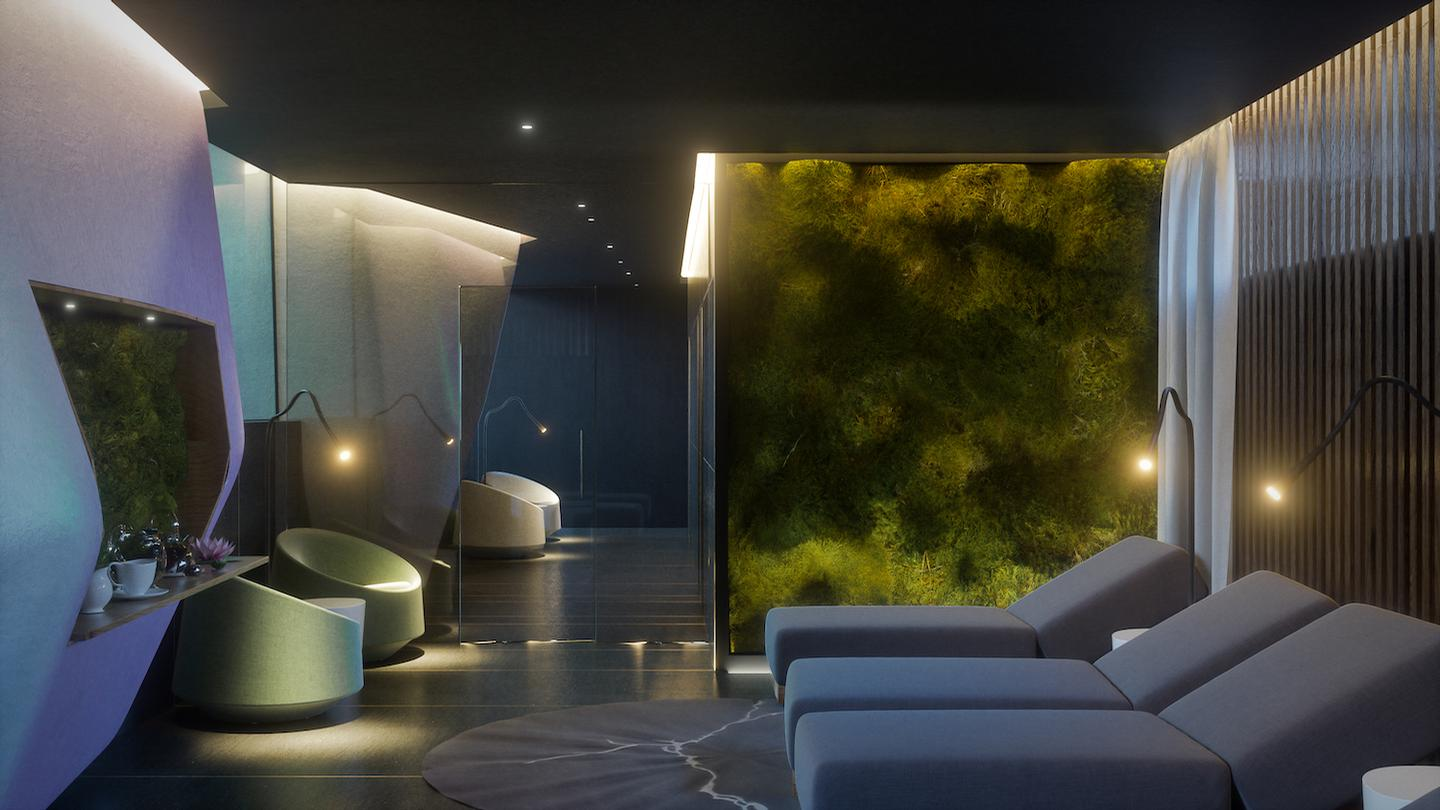 A thermal area with Turkish bath, sauna, ice waterfall, emotional showers, outdoor whirlpool, changing rooms and relaxation room will be located on the first floor / Studio Apostoli