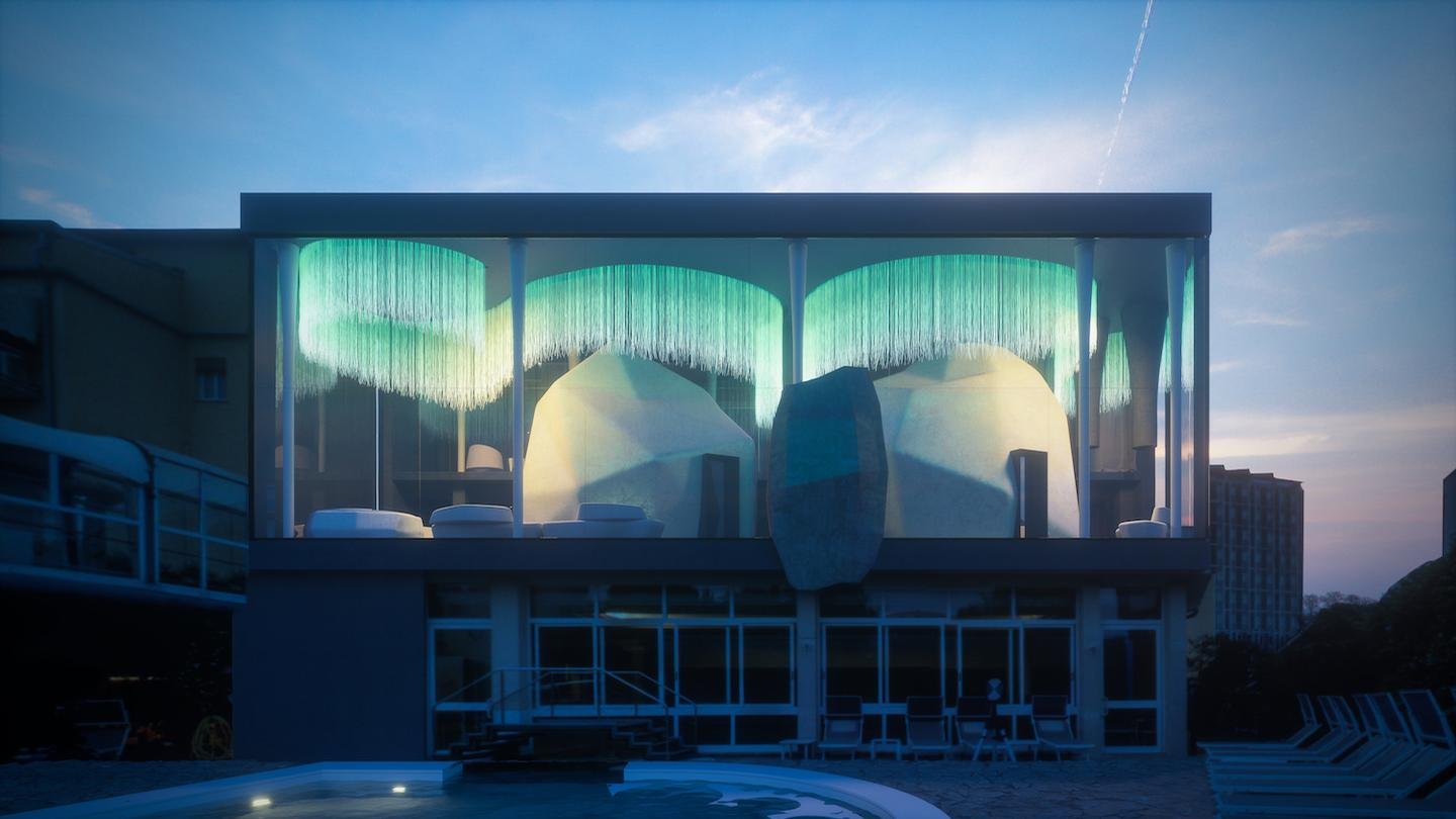 """Northern Lights have been recreated with the use of a fabric that integrates special optical fibres, while """"icebergs"""" have been created based on a design by Studio Apostoli / Studio Apostoli"""