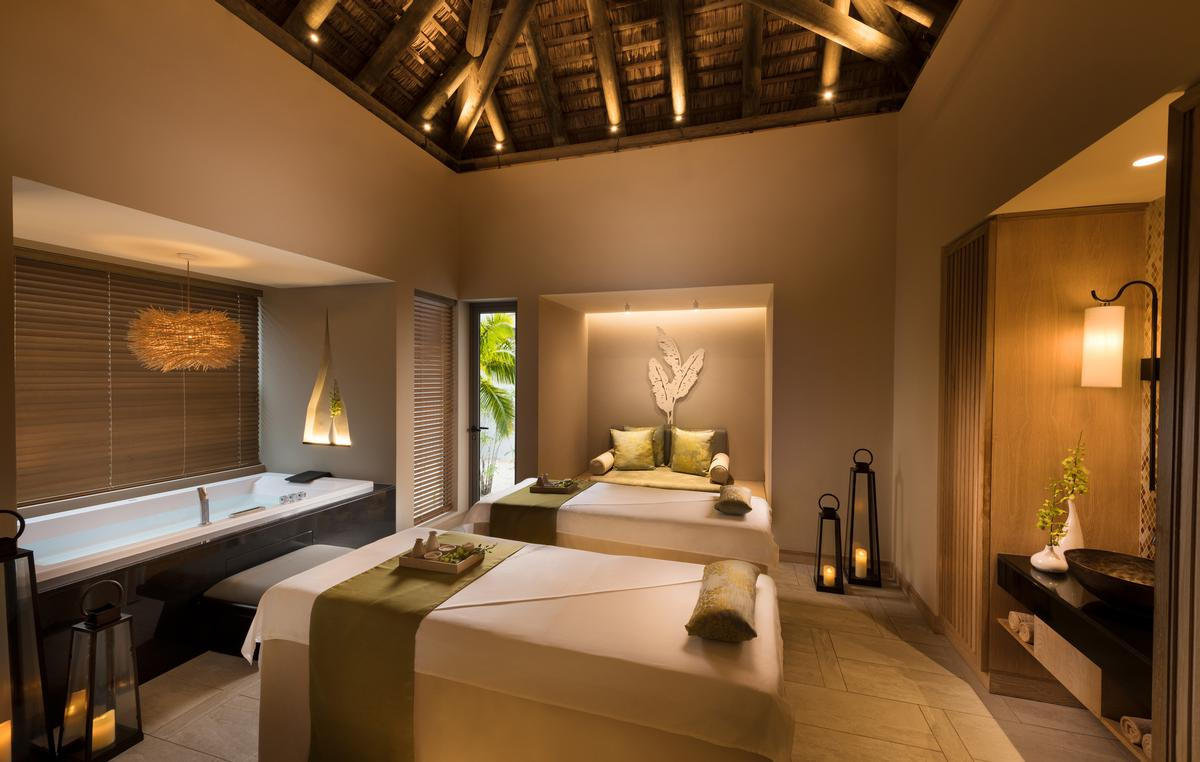 The spa has two double and three single treatment rooms, two relaxation areas, a Turkish Hammam, whirlpool, two experience showers, and two outdoor Thai massage pavilions.