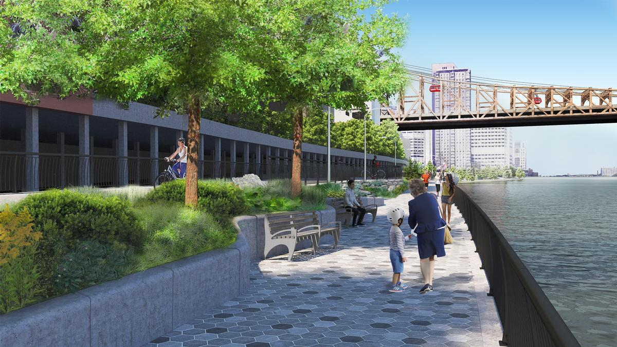 The East Midtown Greenway will comprise a 40ft-wide esplanade with space for recreation, seating and bike- and footpaths / Courtesy of Stantec