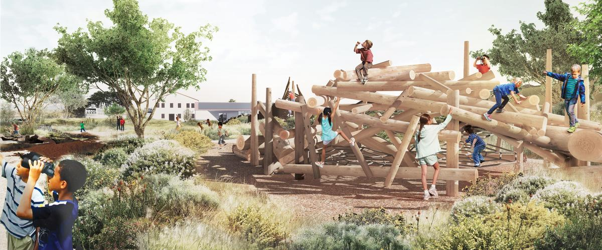 A special child-friendly landscape for multi-sensory learning, exploration and play is part of the designs / James Corner Field Operations