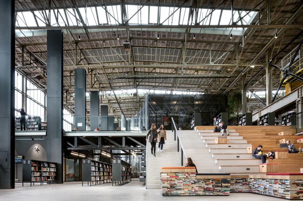 LocHal Public Library by Civic architects (lead architect), Braaksma & Roos Architectenbureau, Inside Outside - Petra Blaisse / Stijn Bollaert