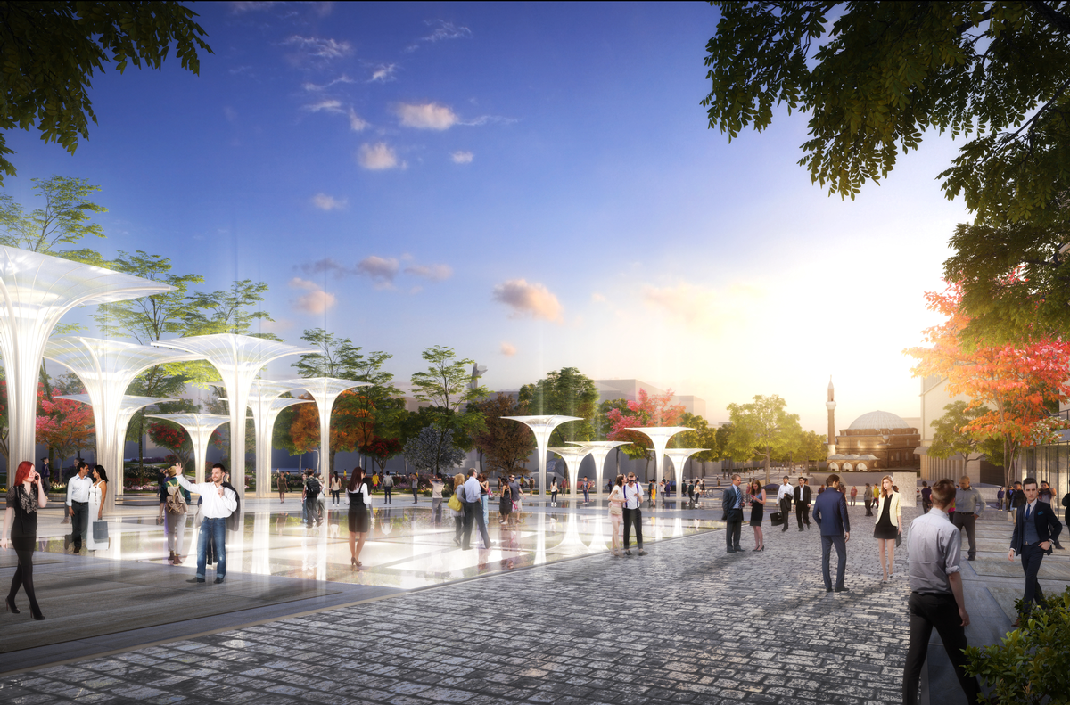 Archaeological ruins will be covered walkable glass so as to showcase them to passersby and visitors to the square / Studio Fuksas