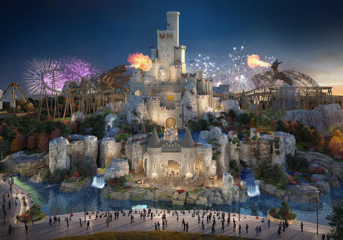 The park consists of six lands, including The Kingdom (pictured) inspired by Arthurian legends