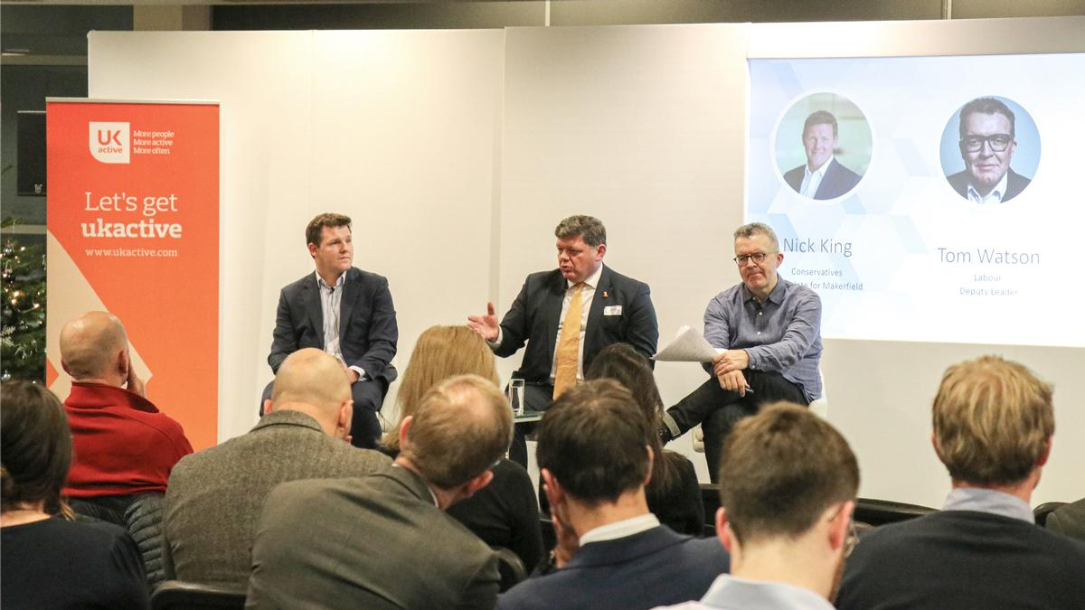 The hustings were attended by Tom Watson (right), Lord Addington (middle) and Nick King (left) / ukactive