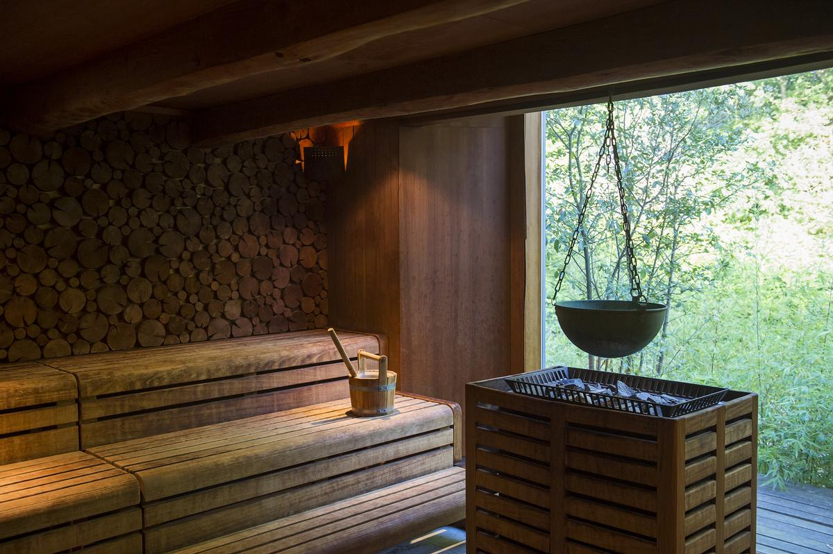 The spa also includes a forest-view sauna, mud house and a hydro pool.