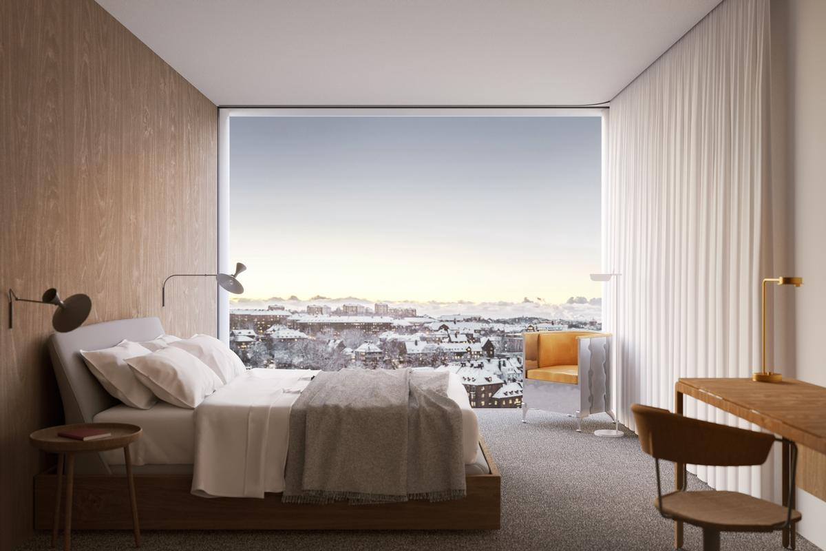The more slender upper section of the tower will house four hundred hotel rooms with views of the city and the nearby sea / Tham & Videgård Arkitekter