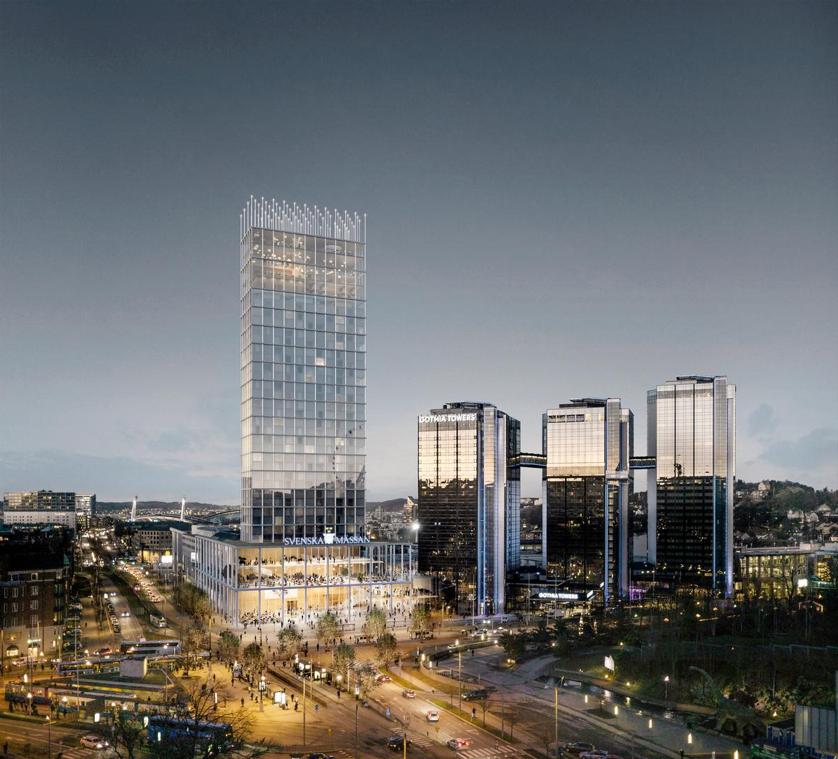 The 28,000sq m (301,000sq ft) development will sit alongside the three existing Gothia Towers / Tham & Videgård Arkitekter