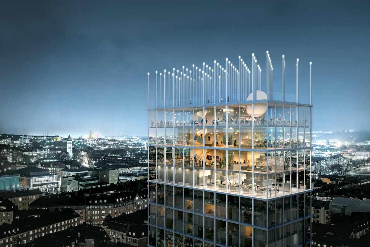 A rooftop terrace will be set among a forest of pillars above the top floor / Tham & Videgård Arkitekter