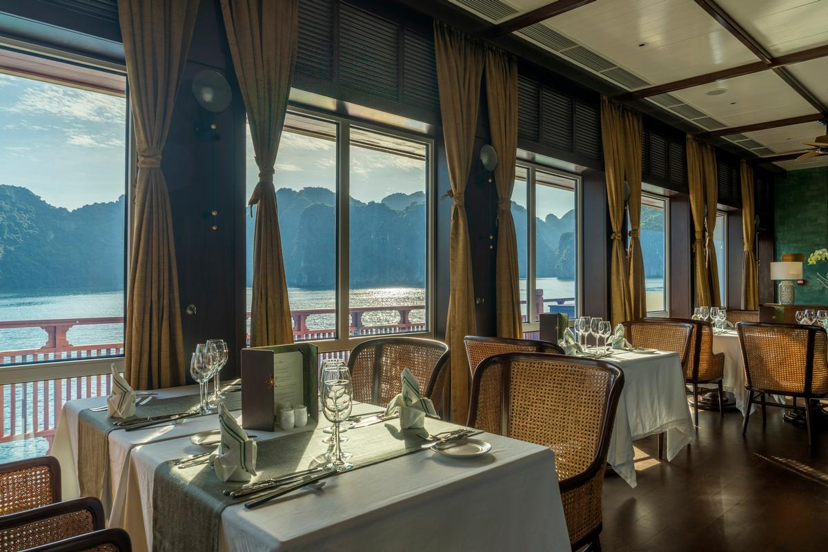Meals in the ship's glass-fronted restaurant feature fresh Vietnamese cuisine and have an emphasis on healthy eating.