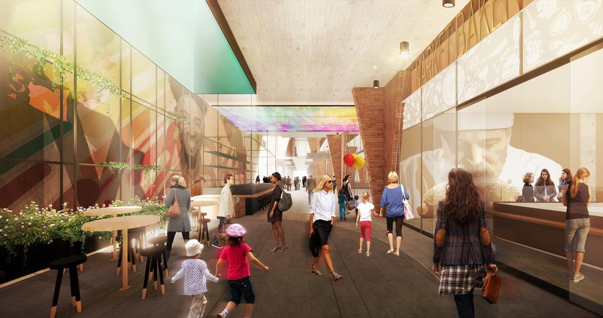 The proposed design seeks to draw through the 'spirit of the market' into the arcade / Woods Bagot