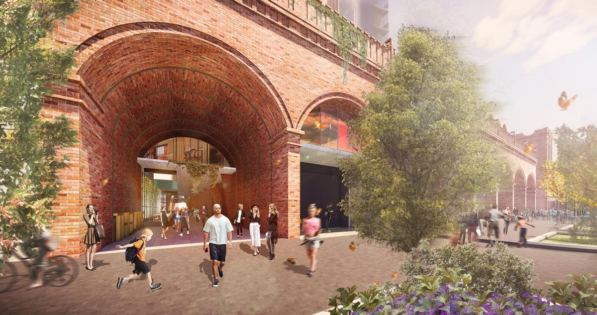 The arcade's brick arches will be reinstated to create continuity with those of the market building / Woods Bagot