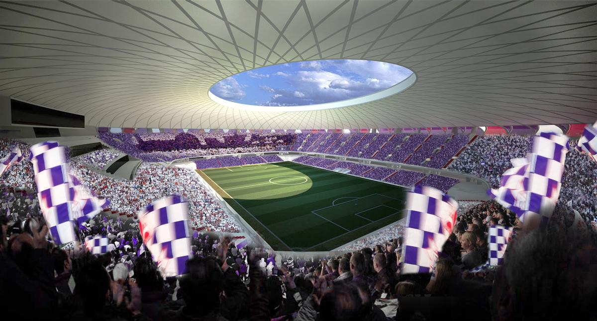 The design uses curved steel for the shape of the stadium / Pierattelli Architetture