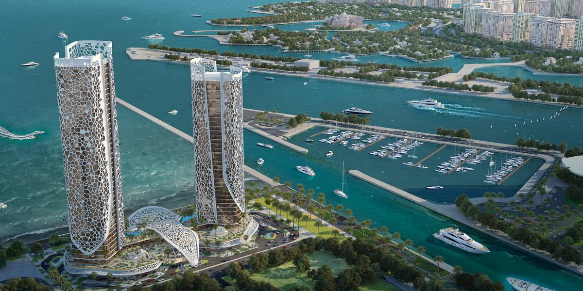 The two adjacent towers are to be wrapped in perforated white façades / Rosewood Hotels & Resorts