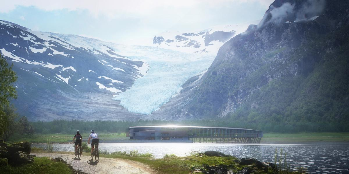 The hotel's design is aimed in part at minimising any impact on land and to the bed of the fjord / Plompmozes