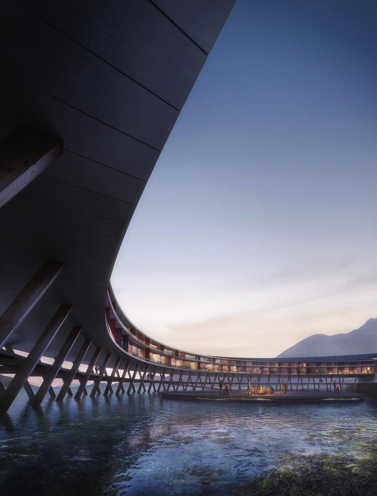 The circular hotel will be raised up above the fjord on a wooden supporting structure / Plompmozes
